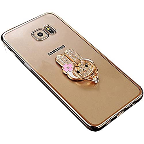 Galaxy S7 Case, TabPow Ornament Series - Slim Luxury Clear TPU Case Cover Bumper With Ring Grip Holder Stand For Sales