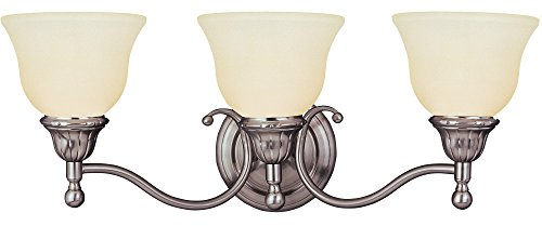 Maxim 11058SVSN Soho 3-Light Bath Vanity, Satin Nickel Finish, Soft Vanilla Glass, MB Incandescent Incandescent Bulb, 60W Max, Dry Safety Rating, Standard Dimmable, Metal Shade Material, Rated (Soho Nickel Three Light)