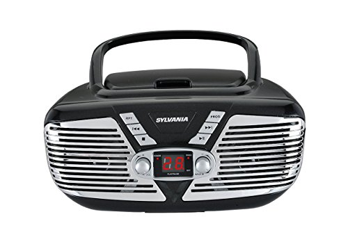 Sylvania Portable CD Boombox with AM/FM Radio, Retro Style, Red