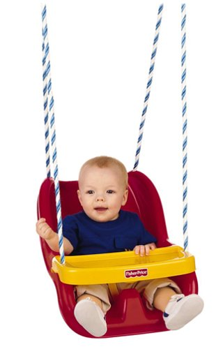 Fisher-Price Infant To Toddler Swing in Red - Outside Baby Swing
