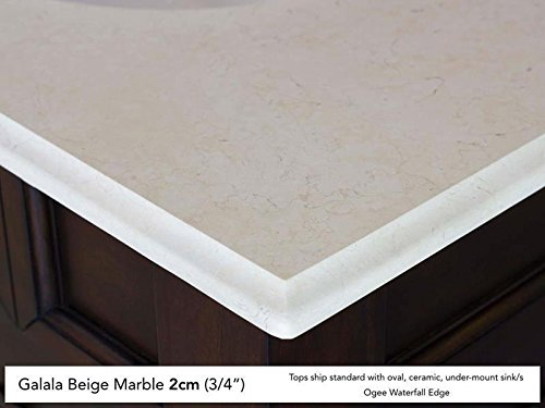 Mahogany Finish Beige Marble - James Martin Furniture 650-V48-BNM-2GLB Brittany Collection 48