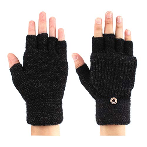 WYWF Fingerless Knitted Winter Gloves Warm Mittens for Men Convertible,G21