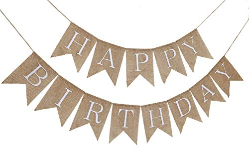 Rustic Happy Birthday Burlap Banner Bunting Garland Swallowtail Flags for Birthday Party Decorations by Ucity (White) -
