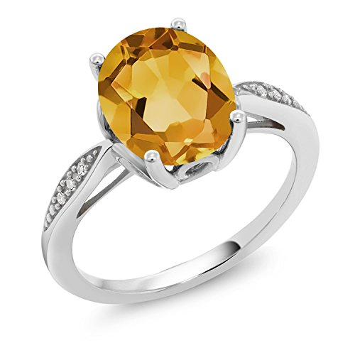- Gem Stone King 2.04 Ct Oval Yellow Citrine White Diamond 14K White Gold Ring (Size 8)