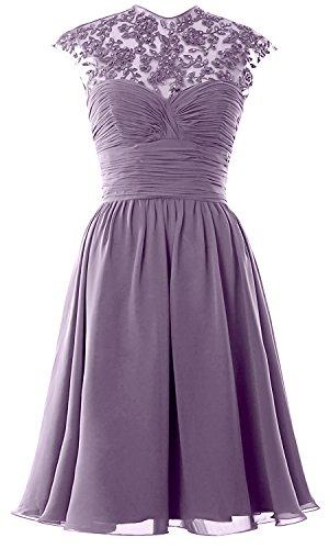 MACloth Party Sleeve Bridesmaid Ball Gown Short Lace Neck Wisteria Wedding Cap High Dress Women UU6rR