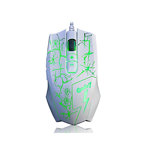 Ajazz Q7 Backlit USB Wired Mouse, 4000 DPI 7 Buttons Ergonomic Gaming Mice for Office Games and Daily Use, White