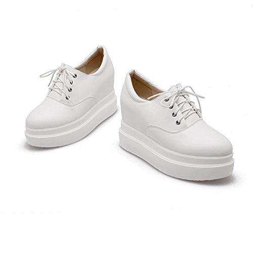 Amoonyfashion Donna Tacco Alto Materiale Morbido Solido Lace-up Tondo Chiuso Scarpe-scarpe Bianche