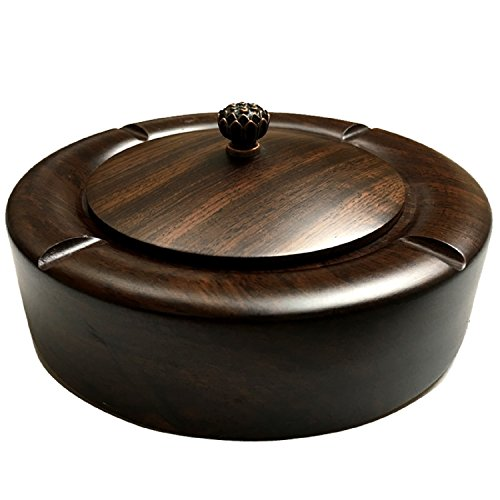 Ebony Cocktail - JUIANG Flower Black Ebony Wood Ashtray Belt Cover Ashtray Living Room Coffee Table Furniture Round Solid Wood Ashtray Outside Diameter 16cm, Height 6cm