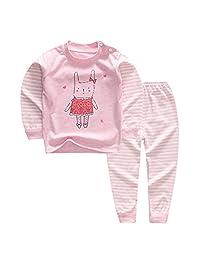 YANWANG 100% Organic Cotton Baby Boys Girls Pajamas Set Long Sleeve Sleepwear(3M-5T)