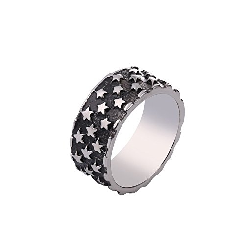 Men's Ring Titanium Stainless Steel Star Design 8mm Wide Band for Wedding (Size 8) (Star Titanium Ring)