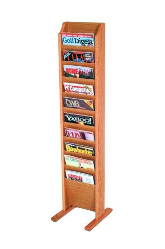 Wooden Mallet 10-Pocket Cascade Free-Standing Magazine Rack, Light Oak (Oak Stand Solid Floor)