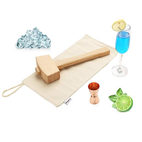 Handmade Lewis Canvas Ice Bag and 13.4 Inch Natural Solid Beech Wooden Ice Mallet – Manual Ice Crusher Hammer, Champagne Gold Two-sided (O.5/1 oz) Jigger