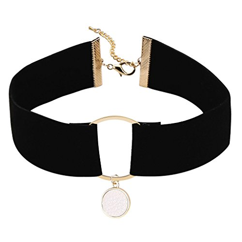 Epinki Women Velvet O-Ring Broadband Masque Choker Classic Lady Necklace Gold White, 32.5 + 7 CM