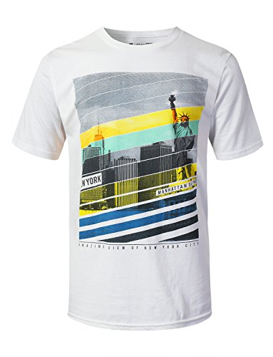 (URBANTOPS Mens Hipster Hip Hop Faded City Graphic Print T-Shirt White, S)