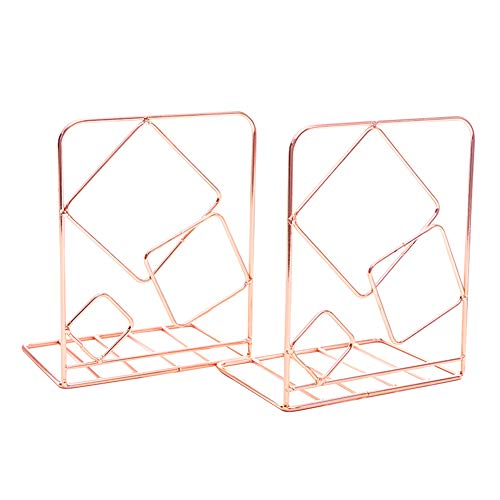 (Exttlliy Metal Square Decorative Bookends, Hollow Wrought Iron Bookshelf,As a Fashionable Gift for New Students,Apply to Home School Office (Rose Gold Square))