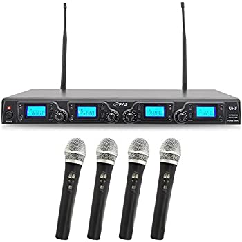 4 channel wireless microphone system portable uhf digital audio mic set with 4. Black Bedroom Furniture Sets. Home Design Ideas