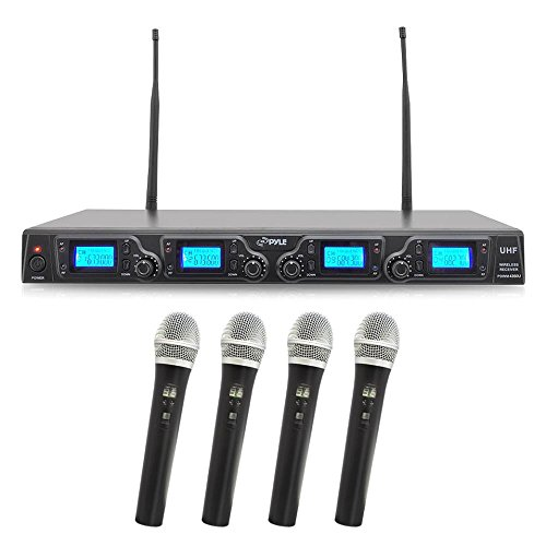 4 Channel Wireless Microphone System - Portable UHF Digital Audio Mic Set with 4 Handheld Dynamic Mic, Receiver, Dual Detachable Antenna, Power Adapter - For Karaoke, PA, DJ Party - Pyle Pro PDWM4360U