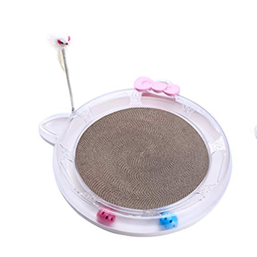- Cat Toy Entertainment Disk Turntable Multi-Function Cat Scratch Board Crazy Play Bed Cat Bed Material Environmental Protection Economy,Pink