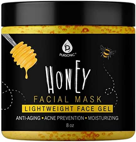 Pursonic Facial Mask Collection of Black Charcoal, Red Clay & Honey Mask, Sourced From All Over The World For A Clean And Healthy Face, 8OZ(Honey Mask)