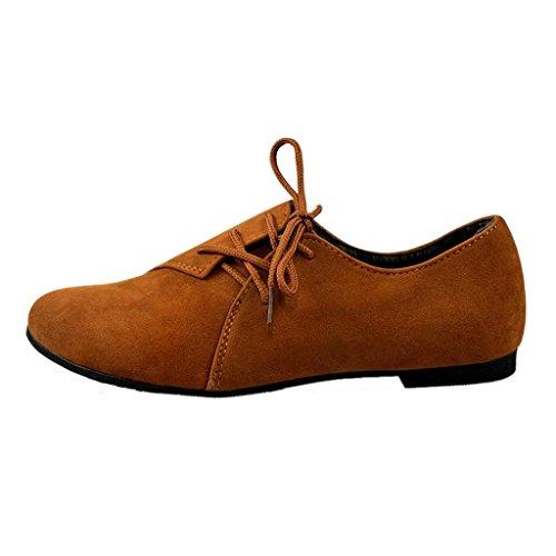 Estimado Tiempo Versión Coreana De Zapatos Planos De Encaje De Comodidad Casual Zapatos Planos Marrón