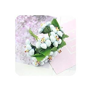 10Pcs Artificial Flower Silk Gradient Foam Plum Handmade Bouquet for Wedding Home Decoration DIY Scrapbooking Wreath Fake Flower,5 10