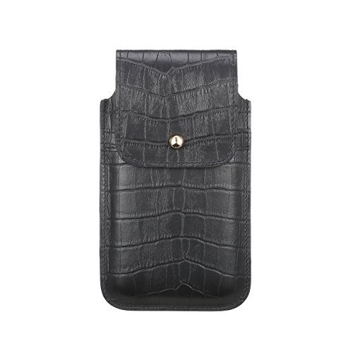 Blacksmith-Labs Barrett Mezzano 2017 Premium Genuine Leather Swivel Belt Clip Holster for Apple iPhone 7 Plus for use with Apple Leather Case - Black Croc Embossed Cowhide/Gold Belt Clip by Blacksmith-Labs (Image #5)