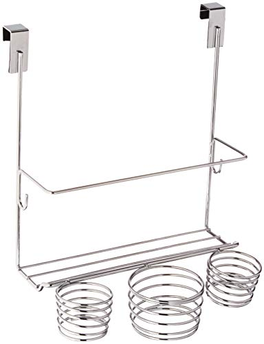 Home Basics Chro Steel Over Door Bathroom Care & Hot Styling Tool Organizer Storage Basket Dryer, Flat Irons, Curling Wands, Hair Straighteners in Chrome ()