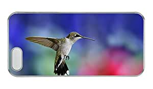 Customized grove iphone 5S covers Hummingbird flight close up colorful blurred background PC Transparent for Apple iPhone 5/5S