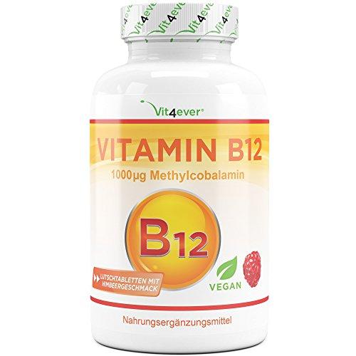 Vit4ever® Vitamin B12 Depot mit 365 Lutschtabletten - Aktives Methylcobalamin - Methyl Tabletten mit Himbeergeschmack - Laborgeprüft - Vegan - Hochdosiert
