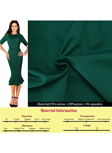 VfEmage Womens Elegant Vintage Cocktail Party Mermaid Midi Mid-Calf Dress 8923 GRN 16 by VfEmage (Image #3)