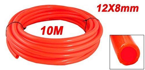 eDealMax Orange Rouge 12mm OD x 8 mm Longueur polyuréthane ID 10M PU Air Tube flexible