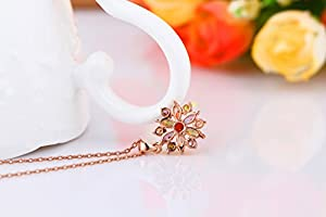 Bamoer Little Sweet Snowflake Rose Gold Plated AAA Multi Color Cubic Zirconia Pendant Necklace