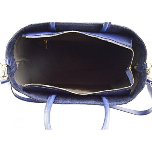 8c1dcdbb65 ... Borsa Donna A Mano In Vera Pelle Colore Blu - Pelletteria Toscana Made  In Italy -