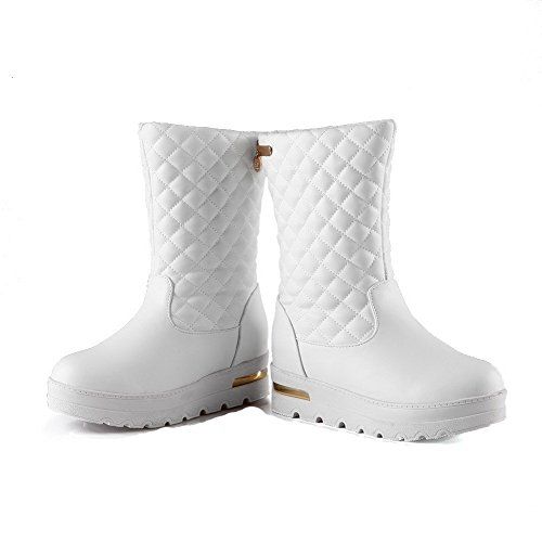 Allhqfashion Women's Toe White On Kitten Pull Boots Round Closed Heels Solid PU BxaApqwBFC