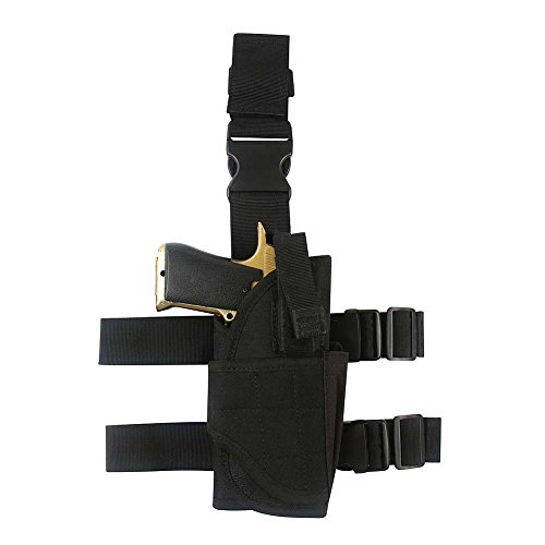 Belt Gun Holster Costume (Adjustable Leg Holster ,Black Tactical Thigh Holster for pistols with Magazine Pouch)