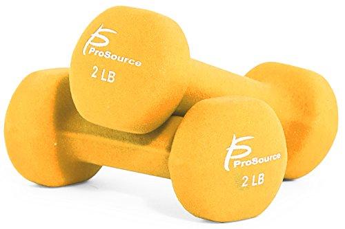 ProSource Set of Two Neoprene Dumbbells, Yellow, 2 pounds image