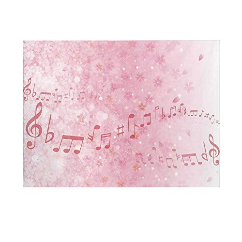 Light Pink Photography Background,Music Notes Pitch on Romantic Floral Background Classic Rhythm Art Inspiration Backdrop for Studio,10x8ft