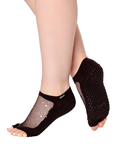 Shashi Glitter Mesh Non Slip Open Toe Ergonomic Sock Pilates Barre Ballet Yoga (Small (5.5 to 7.5), (Twinkle Toes Clothes)