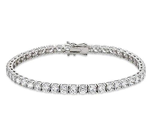 - Venetia Top Grade Realistic Hearts Arrows Cut 10 Carats 4mm Simulated Diamond Tennis Bracelet 925 Silver (6.5)
