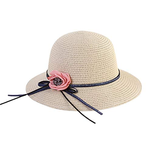 Vertily Women Floppy Foldable Straw Flower Travel Beach Bucket Outdoor Visor Hat (A) (Pocket Top Marathon One Unisex)