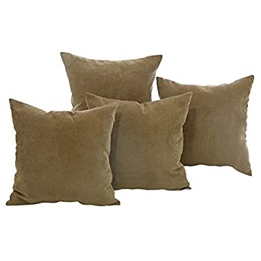Deconovo Corduroy Flocking Throw Cushion Case Pillow Cover With Invisible Zipper for Sofa, 18x18-inch, Light Brown, Set Of 4