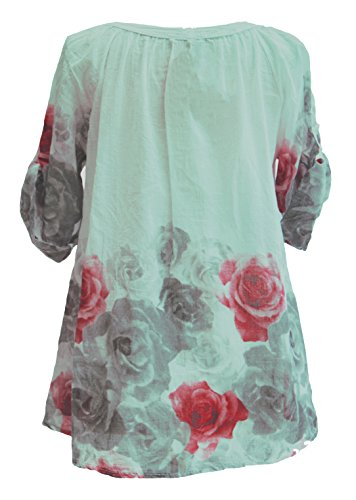 Button Print Rose TEXTURE Size Blouse Cotton Top Women Floral Mint Lagenlook Italian 3 Green Shirt Ladies One 6XqXnUYr8