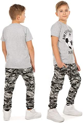 Pantalones de ch/ándal para ni/ño con cintura el/ástica Solvera pantalones de camuflaje para ni/ño con bolsillos militares