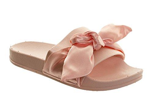 Damer Flip Strand Sandaler Tøfler Komfortable 3 Satin Sommer Flops Glidere Bue Rosa Knute Kvinners wqYzPRx