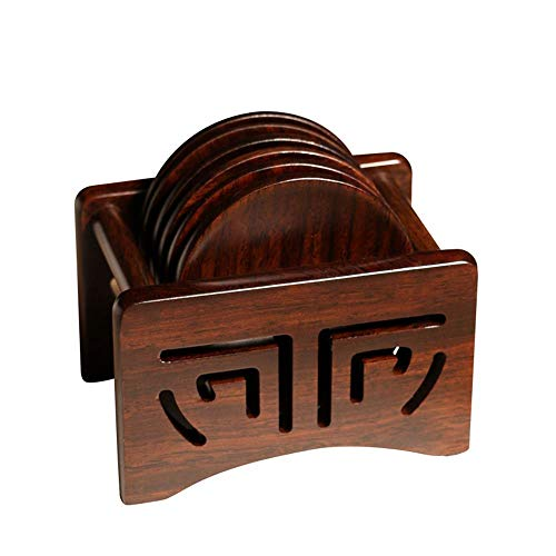 - Coaster Solid Wood Simple Tea Coaster Tea Set Accessories Set Insulation Pad Wood Color
