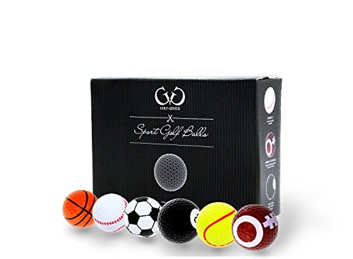Golf Genius Novelty Gift Set of 6 Novelty Golf Balls – Great Gift for Any Golfer *GIFT BOXED* (Sport)