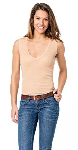 Hautfarbenes Unterhemd / Damenunterhemd unsichtbar V-Ausschnitt Damenshirt hautfarben ohne Arm Business Shirt 0/0 Arm Damen
