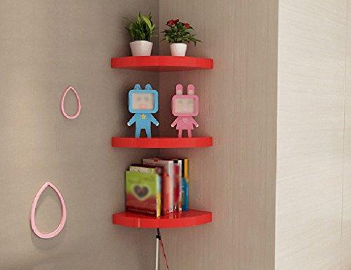 Multilayer Storage Rack Free Punching Corner Partition Wall Shelves Fan-shaped Corner Bracket Wall-mounted Decorative Frame Color Optional (Color : Red) by Corner Shelves