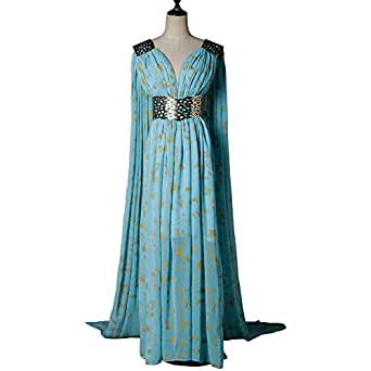 Mycos Game of Thrones Daenerys Targaryen Mother of Dragons Blue Cosplay Dress Costume, Small, Blue
