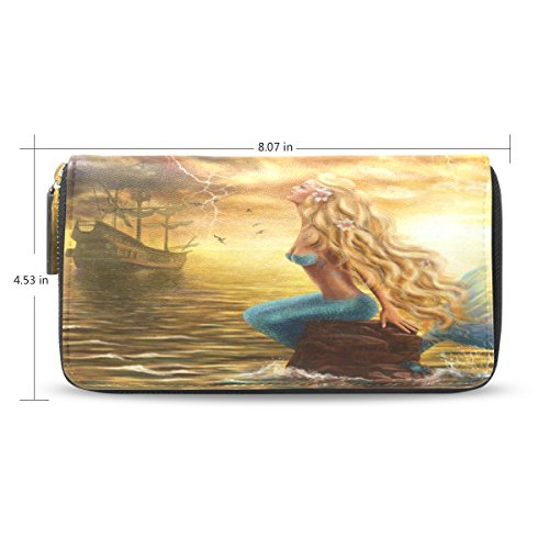 Clutch Purse Long Themes Leather Pu mermaid Handbag Leather ALAZA Wallet Holder Different Card Brown qBw6ttxT